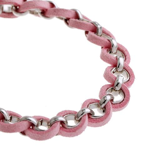 Image of Pink Ribbon Charm Bracelet Breast Cancer Awareness