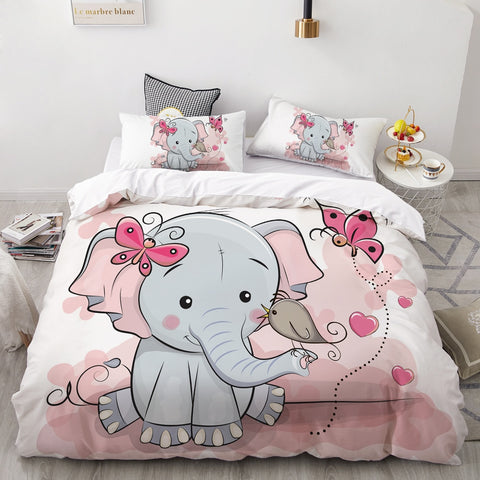 Image of Bedding Set for Kids/Baby/Child/Boy/Girl,Pink elephant Duvet Cover Set Custom/Europe/Queen,Quilt/Blanket Cover Set