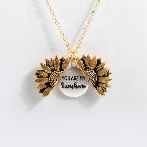 Image of You're My Sunshine Sunflower Double-layer Engraved Pendant Necklaces