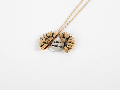 You're My Sunshine Sunflower Double-layer Engraved Pendant Necklaces
