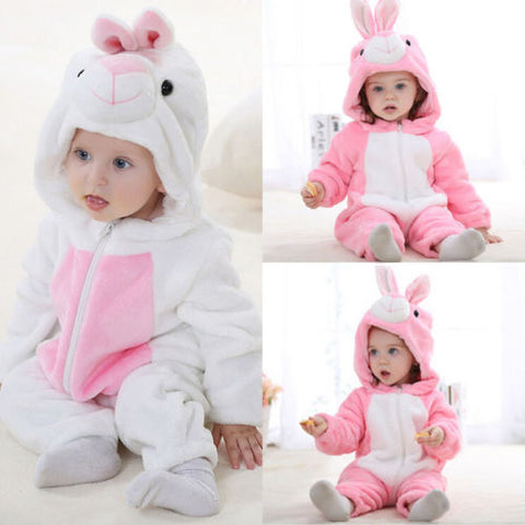 Baby Warm Rabbit Flannel Zipper Hooded Romper Jumpsuit Outfit Set