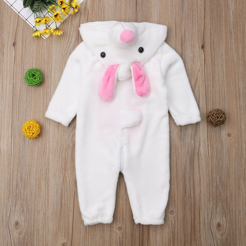 Image of Baby Warm Rabbit Flannel Zipper Hooded Romper Jumpsuit Outfit Set