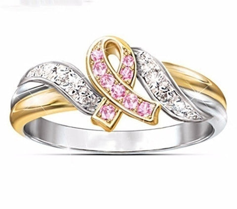 Image of Exquisite Women Pink Ribbon Rings Breast Cancer Awareness Gift for Girls Size 6-10