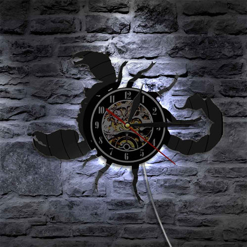 Image of Scorpio Zodiac Wall Clock Astrology Vinyl Wall Clock Home Decor Scorpio Vintage Wall Clock