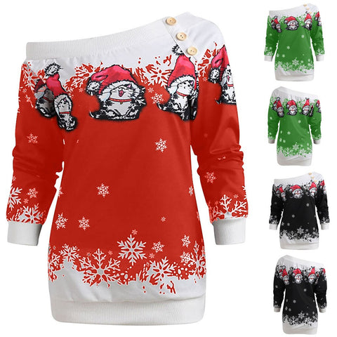 Women Winter Christmas Off-Shoulder Long Sleeves Sweatshirt