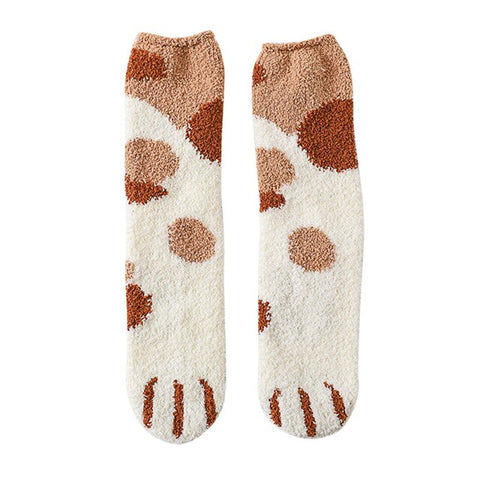 Image of Lovely Cartoon Cat Claw Warm Cotton Socks