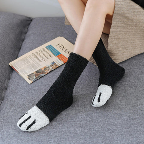Lovely Cartoon Cat Claw Warm Cotton Socks