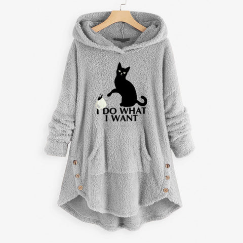 Women Fleece Cat Warm Sweatshirts