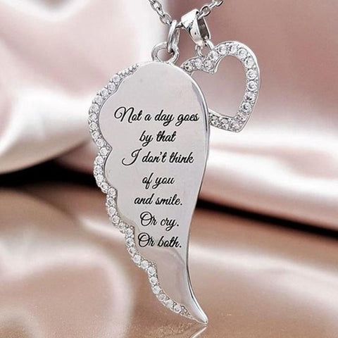 Image of Women Silver Necklace Love Heart Angel Wings