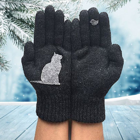 Image of Winter Warm Gloves Thick Cartoon Cat Wool Knitted Full Finger Gloves