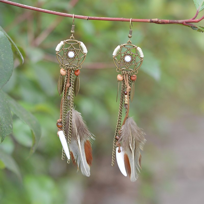 Brown Long Feather Dreamcatcher Hippie Earring - Sale Off 50%