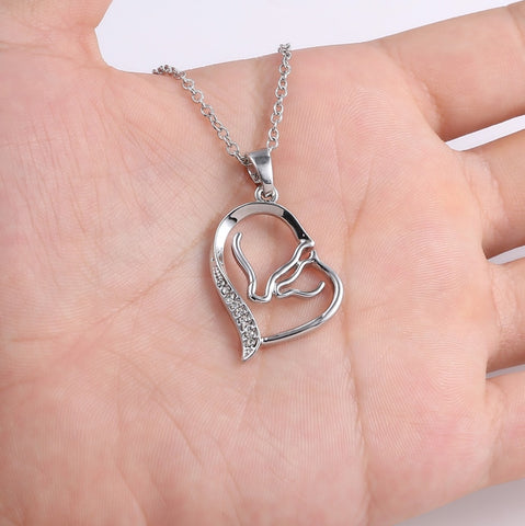 Mother Horse Heart Necklace Family Jewelry