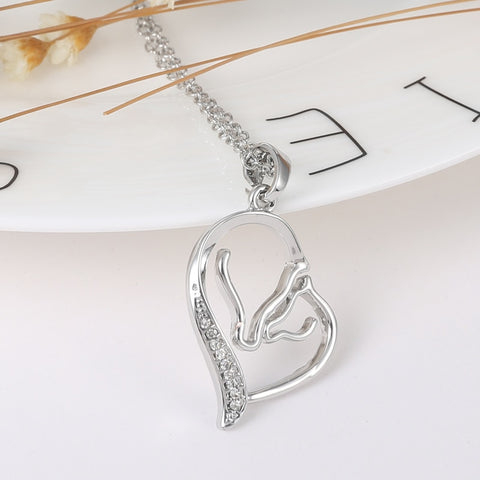 Image of Mother Horse Heart Necklace Family Jewelry