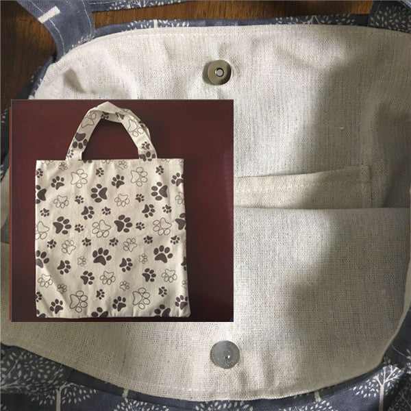Lining Cotton Linen Eco Shopping Handbag Brown Paws - Sale Off 50%