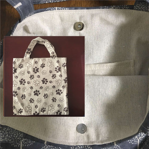 Image of Lining Cotton Linen Eco Shopping Handbag Brown Paws - Sale Off 50%