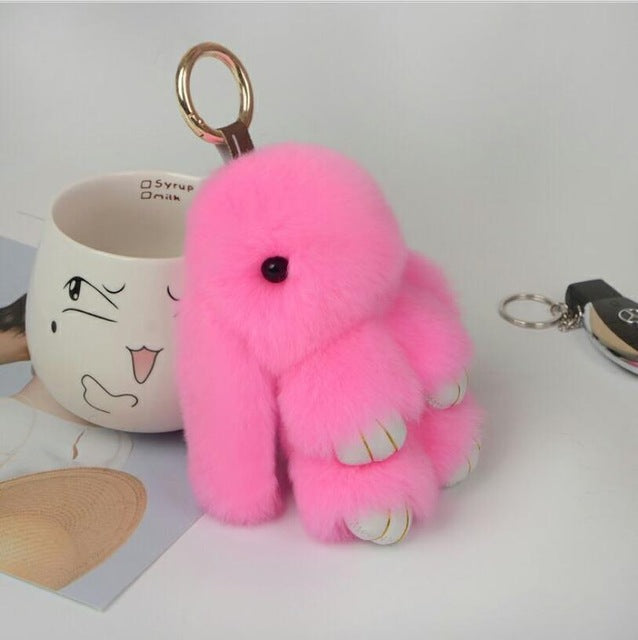 Vet Tech Rex Fur Rabbit Couple Keychain Pendant Charm Bunny Keychains