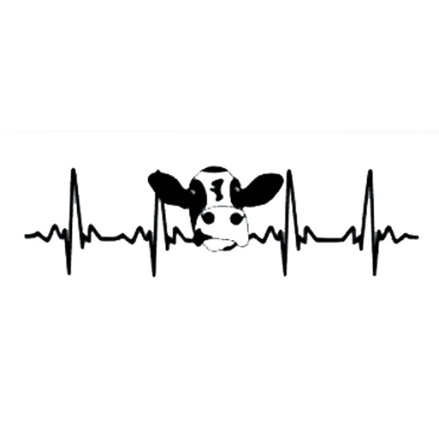 Farmer Cow Heartbeat Fashion Vinyl Car-styling Decal Car Stickers (20 x 5.6 cm)