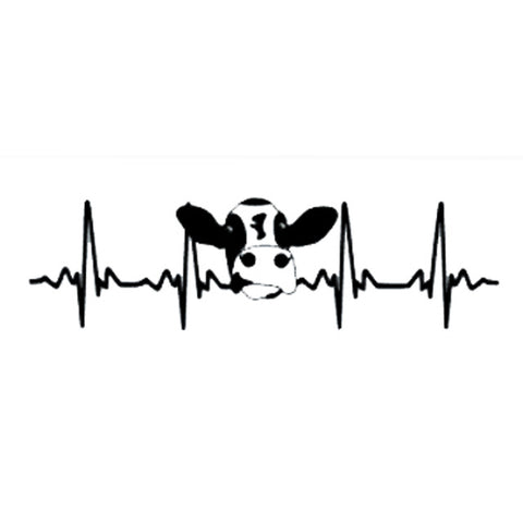 Image of Farmer Cow Heartbeat Fashion Vinyl Car-styling Decal Car Stickers (20 x 5.6 cm)