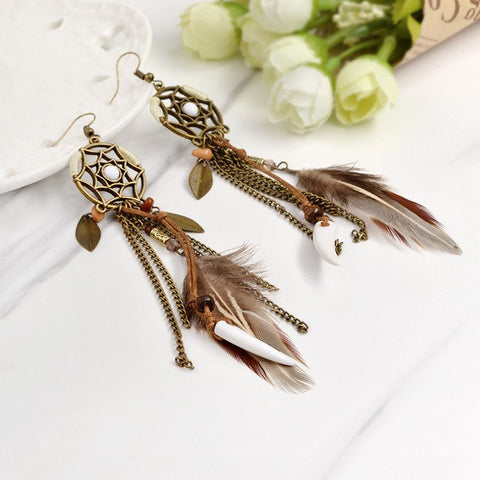 Image of Brown Long Feather Dreamcatcher Hippie Earring - Sale Off 50%