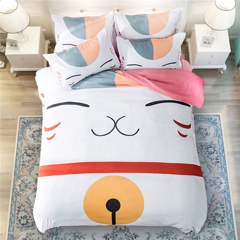 Image of 3D Cute Cat Bedding Set Pillowcase Bed Sheets Duvet Cover