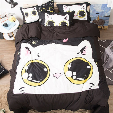 3D Cute Cat Bedding Set Pillowcase Bed Sheets Duvet Cover