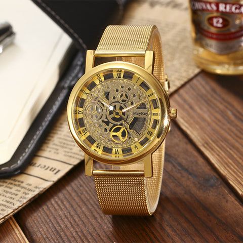 Stainless Steel Non-Mechanical Hollowed Out Wrist Watch