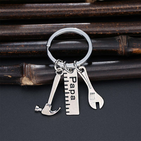 Image of Creative Hammer Papa Dad Father Car Keychains Father's Day Gift