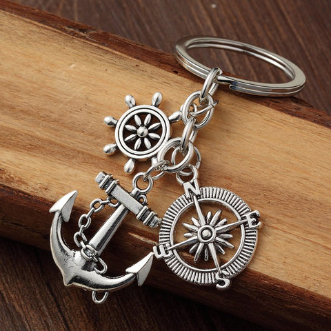 Vintage Silver Alloy Compass & Anchor Charms KeyChain