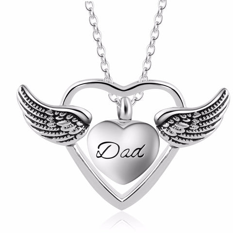 Image of Angel Wings Heart Necklace - Jewelry - Gift Ideas For Women - Locket Necklace - Gifts For Family Members