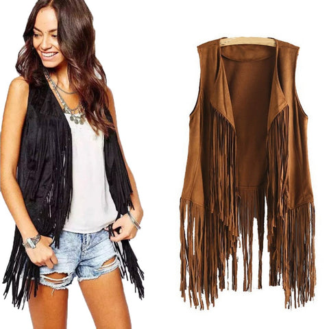 Cowgirl Vintage Vest Sleeveless With Tassels Fringed