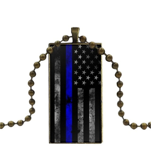 Image of Thin Blue Line American Us Flag Glass Cabochon Pendant Rectangle Necklace