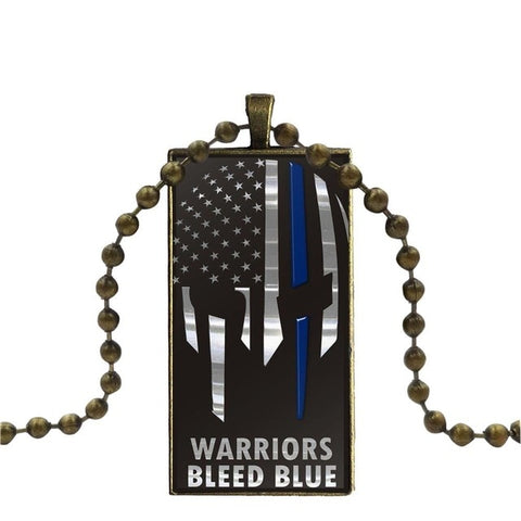 Thin Blue Line American Us Flag Glass Cabochon Pendant Rectangle Necklace
