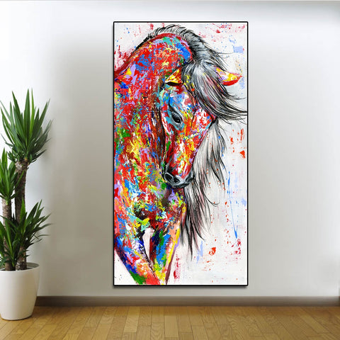 Image of Beautiful Horse Abstract Canvas - Home Decor - Best Gifts For Farmers - Horse Canvas