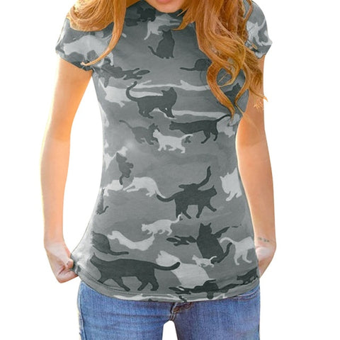 Cat Printed Short Sleeve Round Neck Summer Casual Clothing