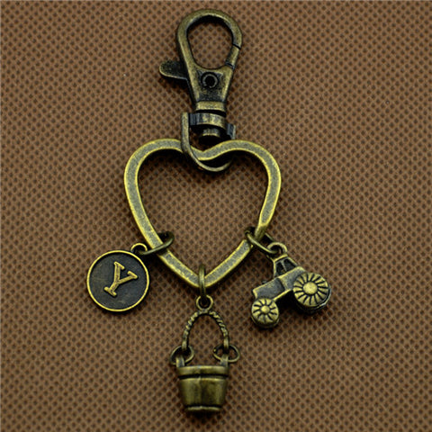 Antique Bronze Tractor Charms Key Chains