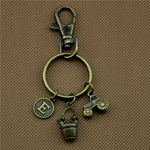 Image of Antique Bronze Tractor Charms Key Chains