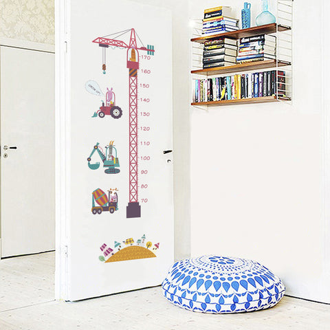 Image of Tower Crane Excavator Height Measuring Chart Baby Growth Record Wall Sticker
