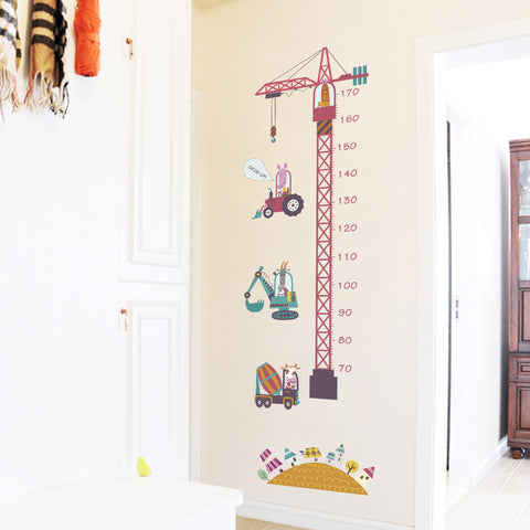 Tower Crane Excavator Height Measuring Chart Baby Growth Record Wall Sticker