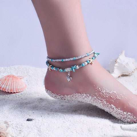 Image of 2 Layer Bohemia Turtle Beach Ankle Foot Jewelry