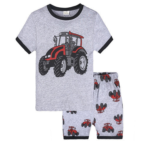 Baby Cartoon Tractor Short Sleeve T-shirt