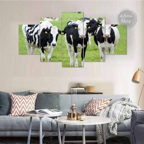 Farmer Holstein Cow Canvas