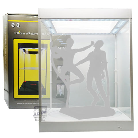 1:6 Clear Rotating  figure Display Case / Box with USB Powered LEDs (WHITE)
