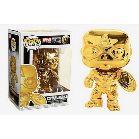 Marvel Studios The First 10 Years - Captain America Gold Chrome #377 Pop Vinyl Funko Exclusive
