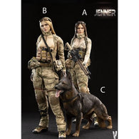 Military Women Soldier - Jenner and German Shepherd Dog Female Custom Figure Set Very Cool