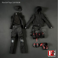 1:6 Dark Night Gunner Female Uniform Custom Clothes Set FG038 Fire Girl Toys
