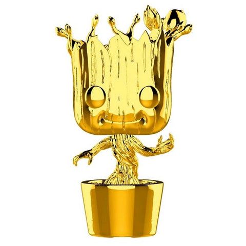 Marvel Studios The First 10 Years - Dancing Groot Gold Chrome Pop! Vinyl Funko Exclusive