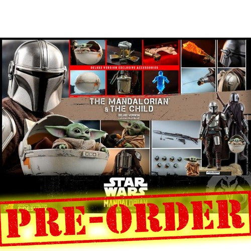 (PREORDER) 1:6 Star Wars : Mandalorian - Mandalorian & The Child Baby Yoda Figure DELUXE Set TMS015 Hot Toys