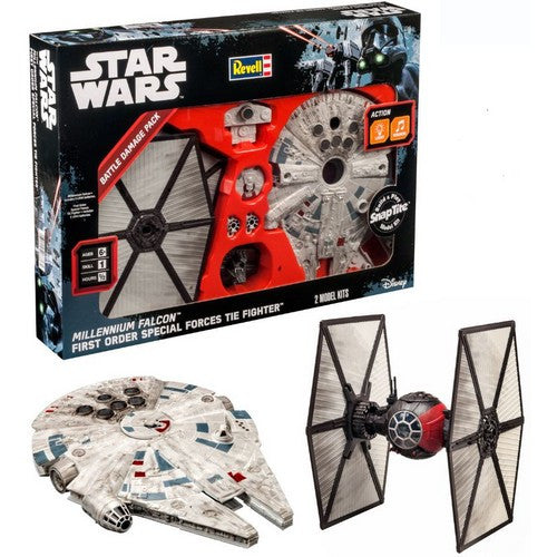 Star Wars TFA Millennium Falcon and Tie Fighter SnapTite Model Kit Set Revell