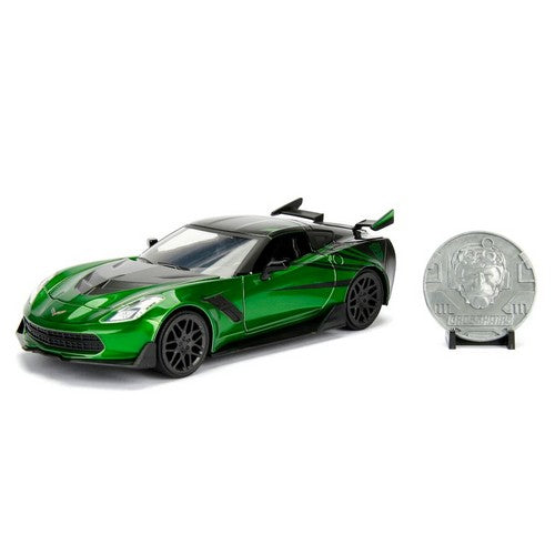 1:24 Transformers : The Last Knight - Diecast Chevy Corvette Stingray Crosshairs Hollywood Ride with Coin Jada Toys