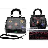 "11"" Marvel - Debossed Icons Faux Leather Crossbody Bag Loungefly"